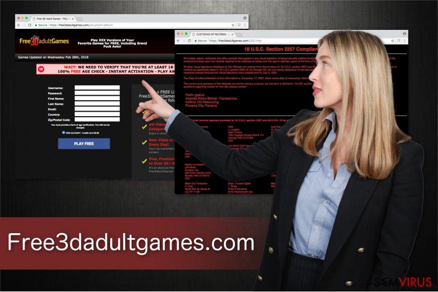 A ilustração da plataforma de jogos para adultos Free3dadultgames.com