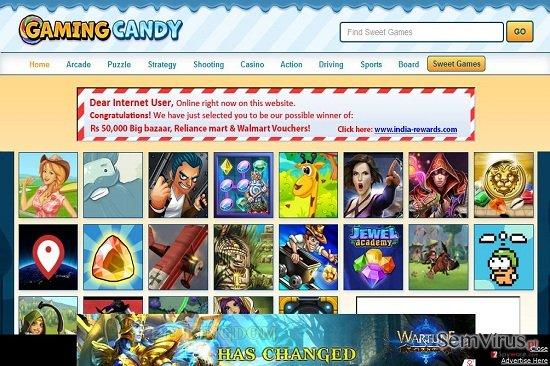 Anúncio de GamingCandy instantâneo