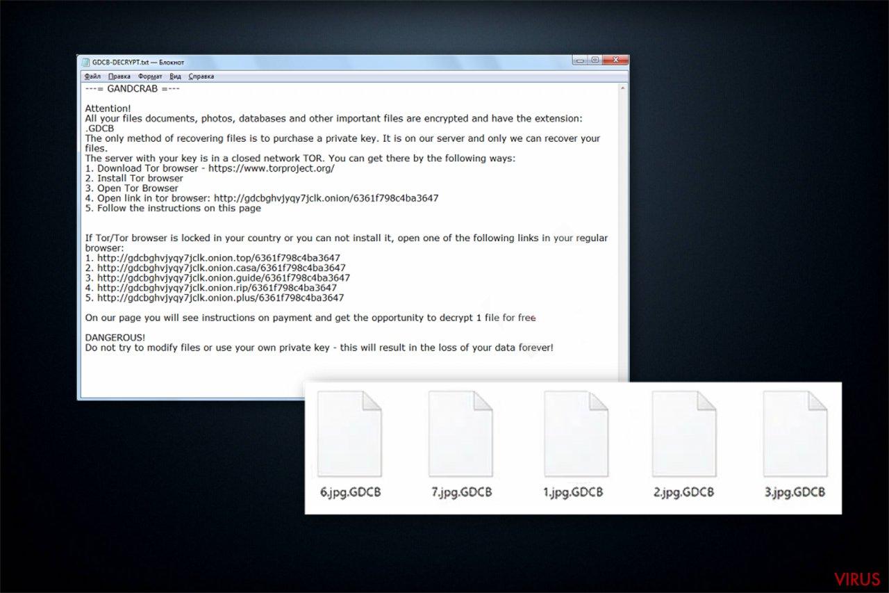 A nota de resgate do ransomware GandCrab