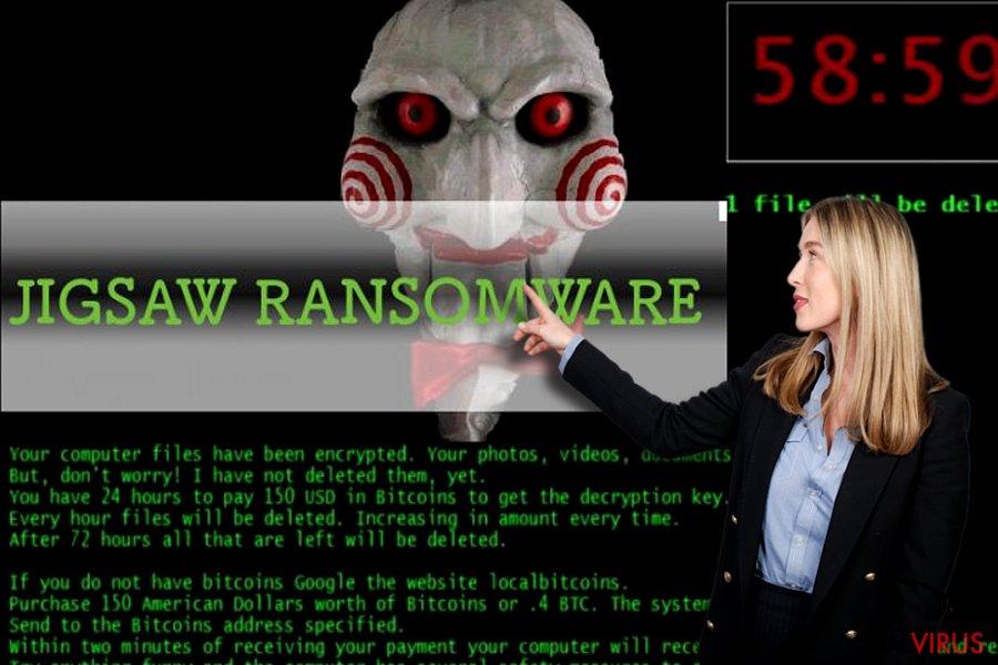 Vírus ransomware Jigsaw instantâneo