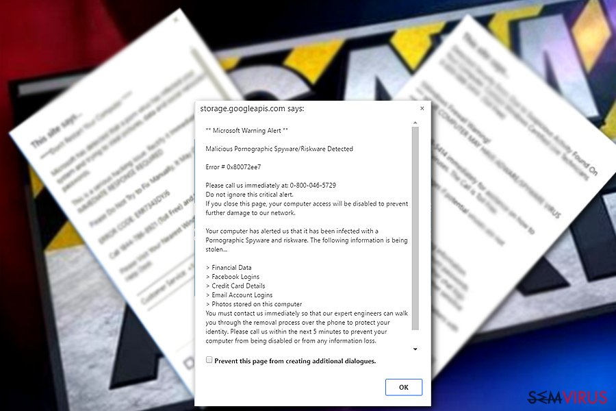 "Vírus de esquema de Apoio Técnico ""Microsoft Warning Alert"""