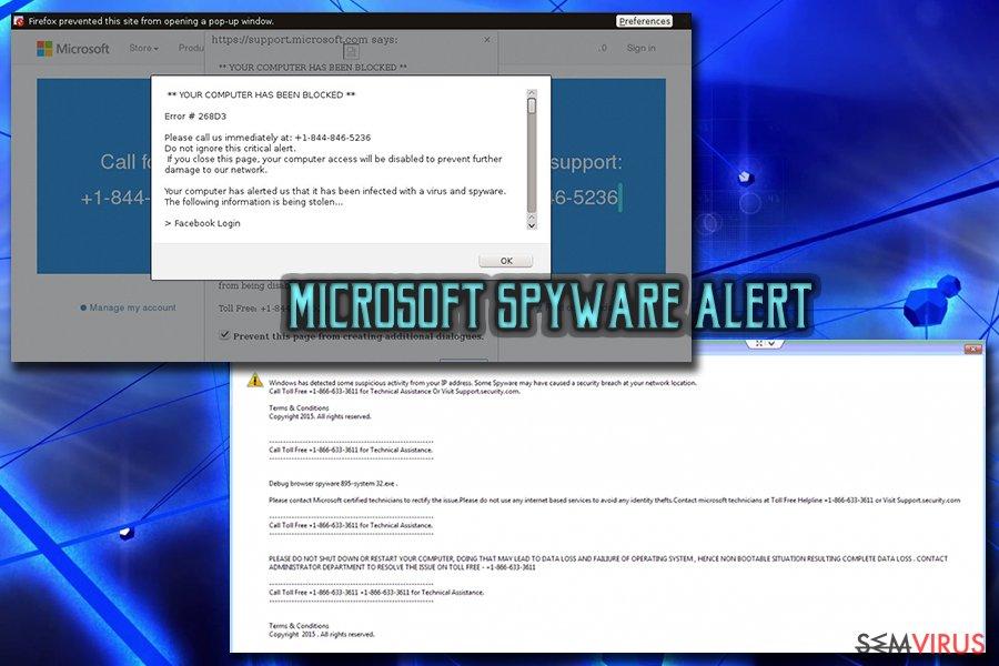 """Vírus de esquema de Apoio Técnico """"Microsoft Warning Alert"""" instantâneo"""