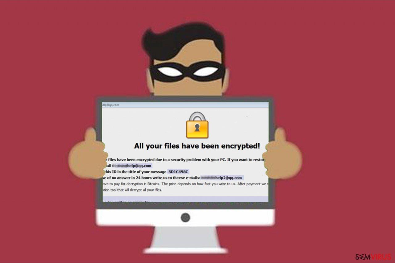 Imagem do ransomware Restorehelp@qq.com