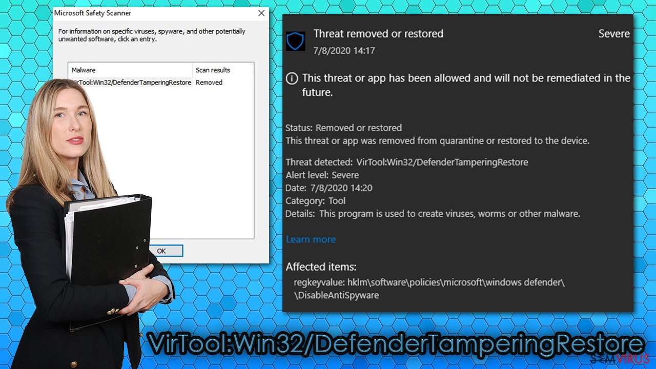 Vírus VirTool:Win32/DefenderTamperingRestore
