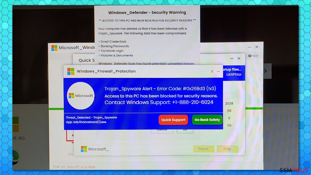 "Alerta falso ""Trojan_Spyware Alert - Error Code #0x268d3 (!x3)"""