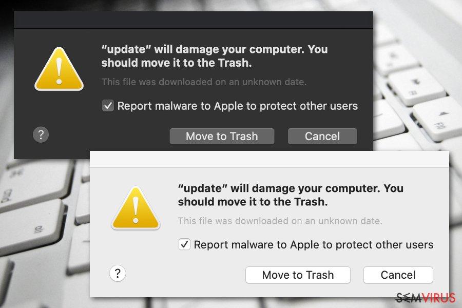 """Nota """"Irá danificar o seu computador. Deve movê-lo para o Lixo"""""""