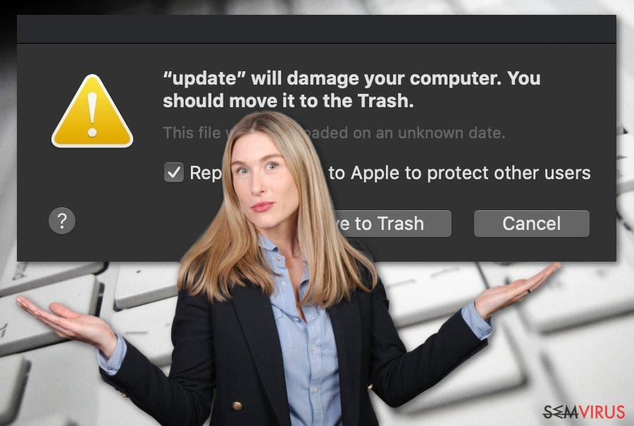 """Vírus """"Irá danificar o seu computador. Deve movê-lo para o Lixo"""""""