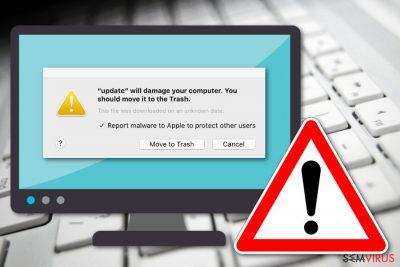 """Mensagem """"Irá danificar o seu computador. Deve movê-lo para o Lixo"""""""