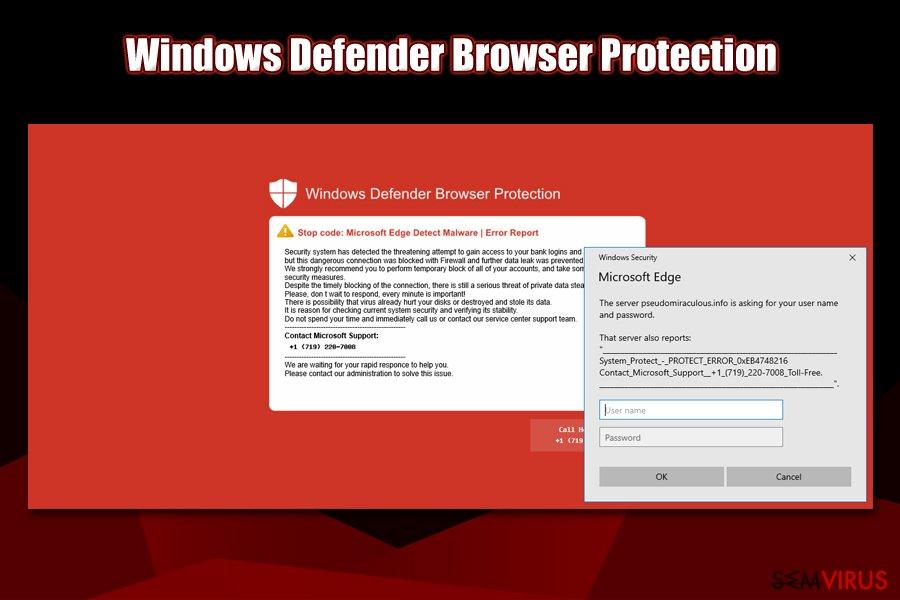 Ecrã vermelho do Windows Defender Browser Protection